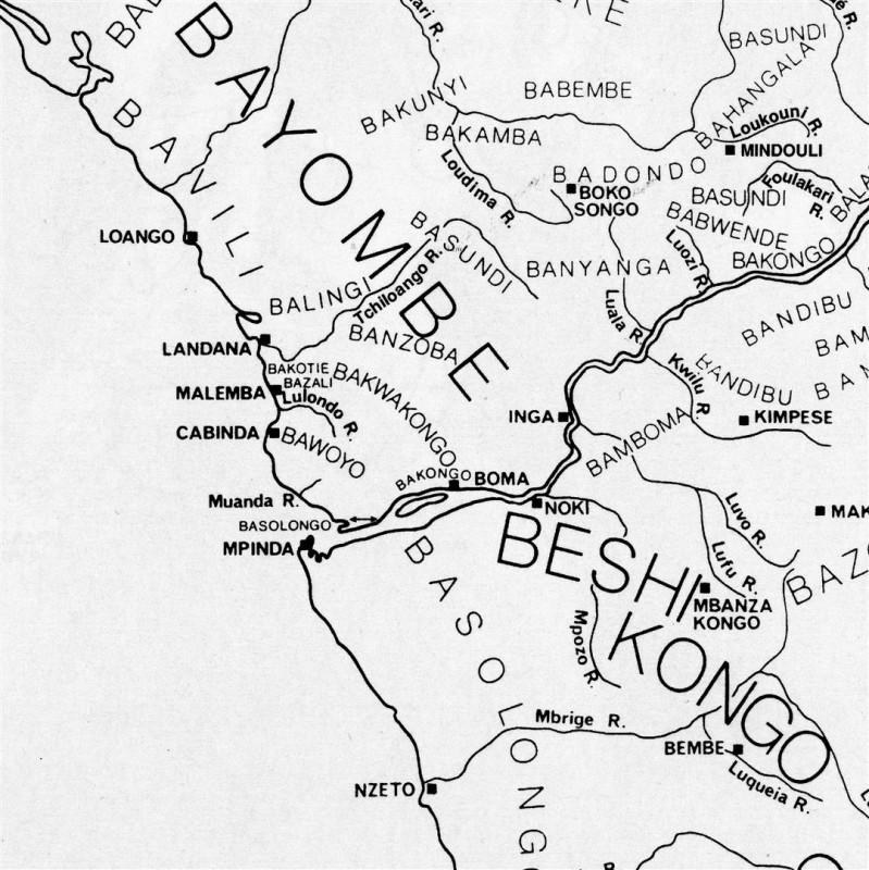 Karte 1: Lage des Königreiches Ngoyo (Bawoyo / Woyo) in der Volksrepublik Kongo. (aus Volavka, 1998)