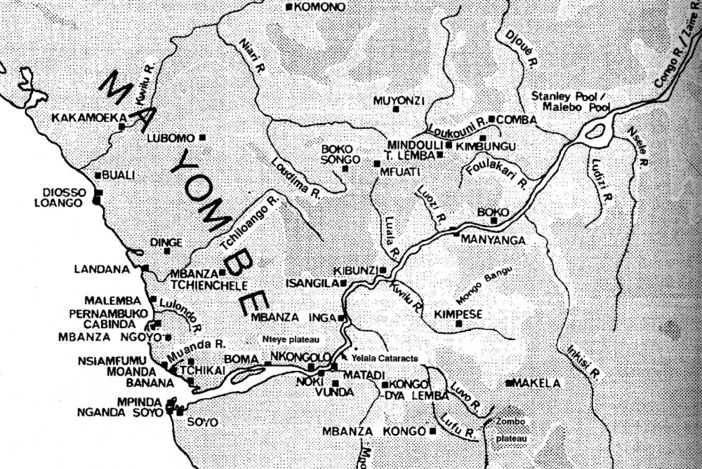 Karte 2: Königreich Ngoyo. Minenfelder von Boko Songo und Minduli. Handelsplatz Manyanga. Stanley Pool (Pool Malebo). (aus Volavka, 1998)
