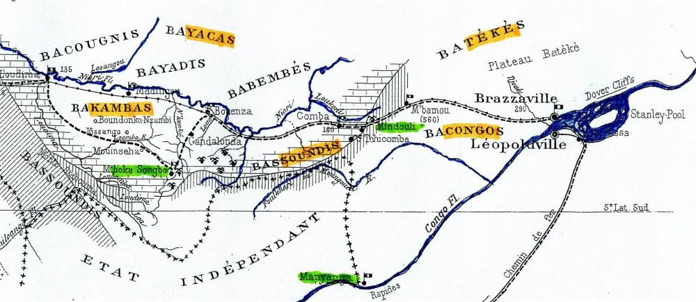 Karte 3: Volksgruppen in der Region der Kupferminen von Boko Songo und Minduli: Kamba, Sundi, Teke, Kongo, Yaka. Handelszentrum Manyanga. Stanley Pool. (Aus Levat, 1907)