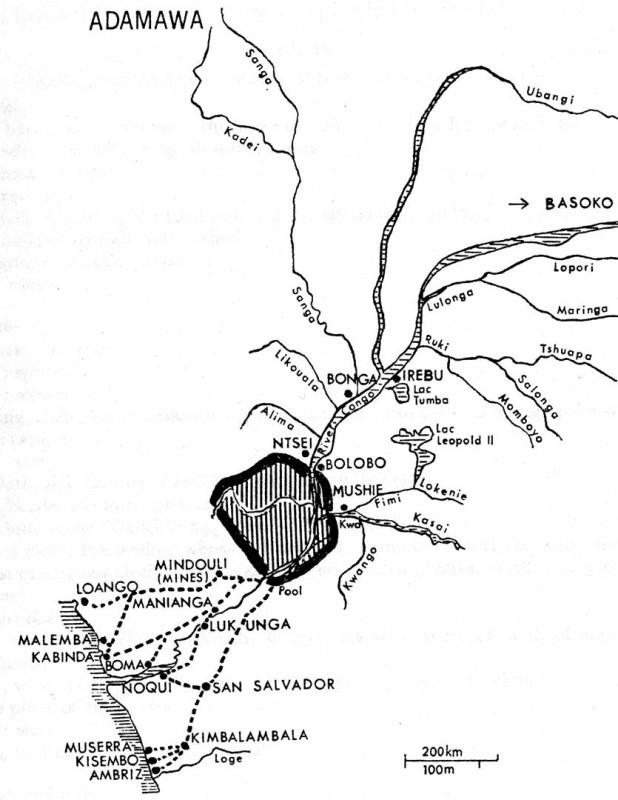 Karte 4: Das Königreich Tio in der Volksrepublik Kongo mit seinen Handelswegen zur Atlantik-Küste. (aus Vansina, 1973)