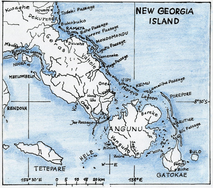 Karte Neu Georgia & Marovo Lagune