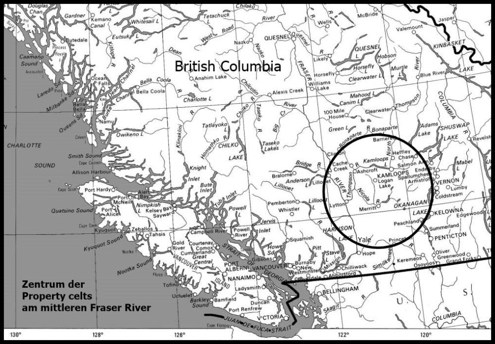 Bild 1: Kartenausschnitt British Columbia mit Fundzentrum der Property celts