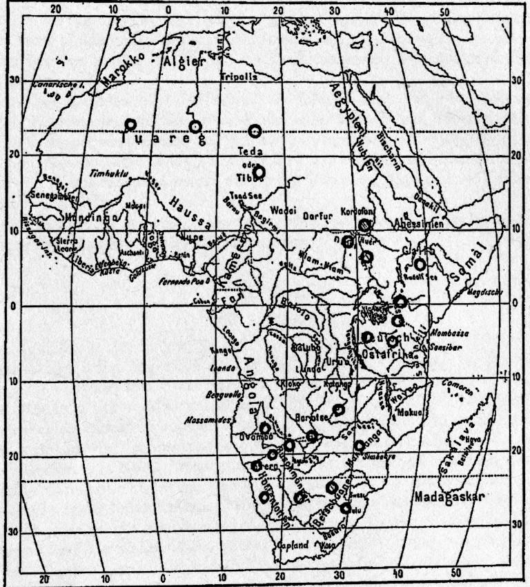Karte 1: Verbreitung der Straußenei Scheibchen in Afrika. O Fundorte (aus Krieger, !943 S.85)
