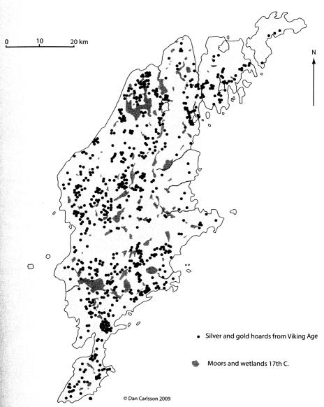 PGS 41,1 (2020) Tafel 8 Karte 1: Fundorte von Silberhorten auf der Insel Gotland.