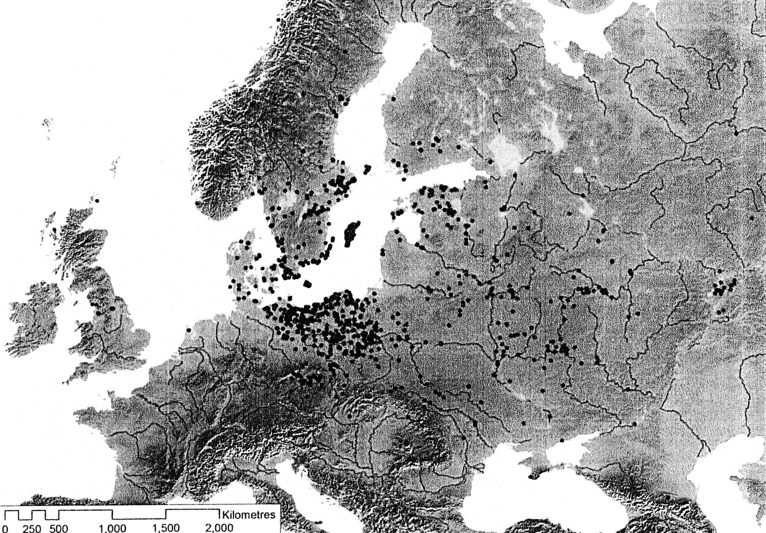 PGS 41,1 (2020) Tafel 9 Karte 2: Wikingerzeitliche Schatzfunde in Europa.