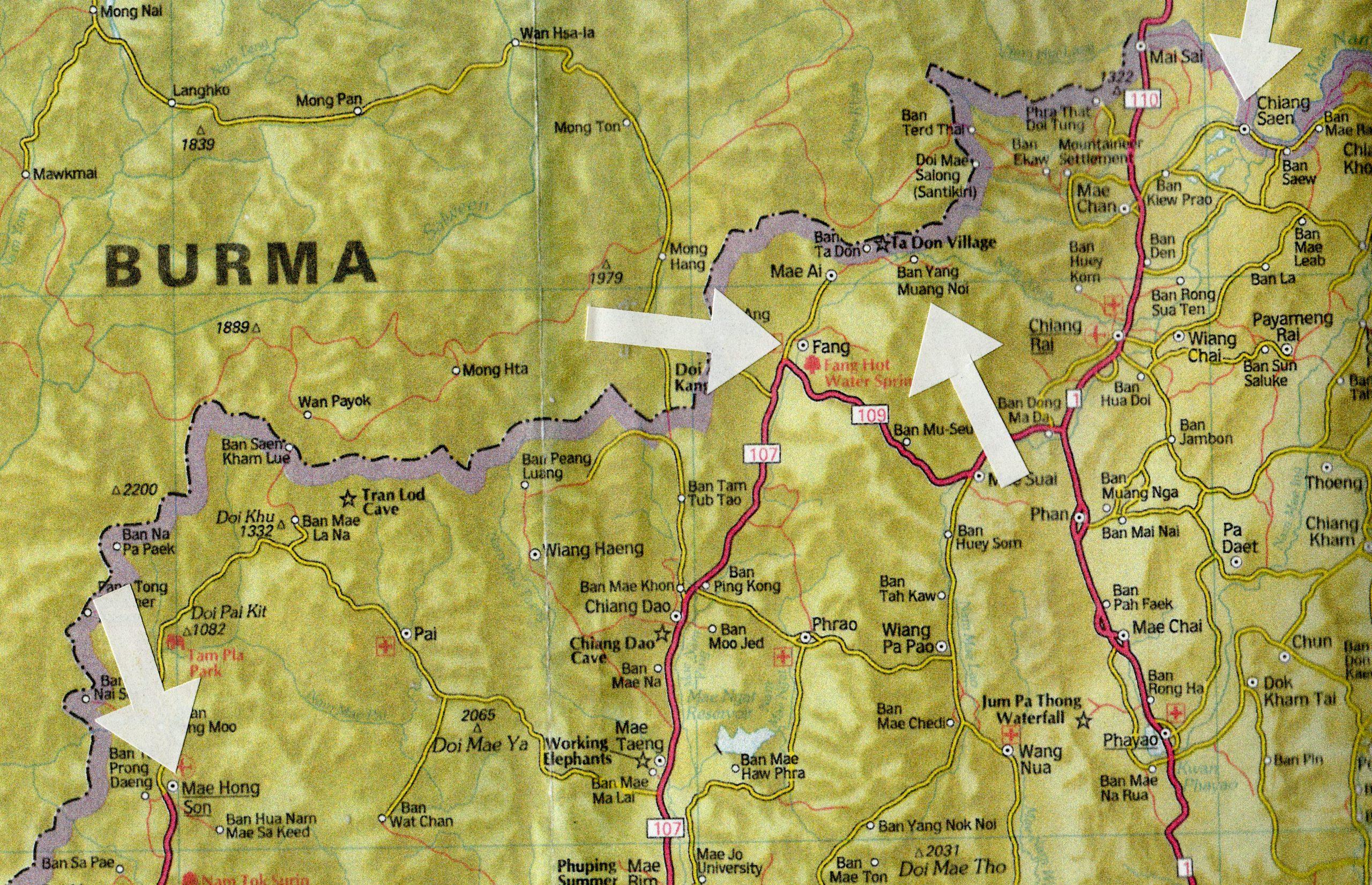 PGS 41,2 (2020) Tafel 27 Karte der burmesisch / thailändischen Grenzregion mit den Ortschaften Mae Hong Son, Fang und Ban Yang Muang Noi.