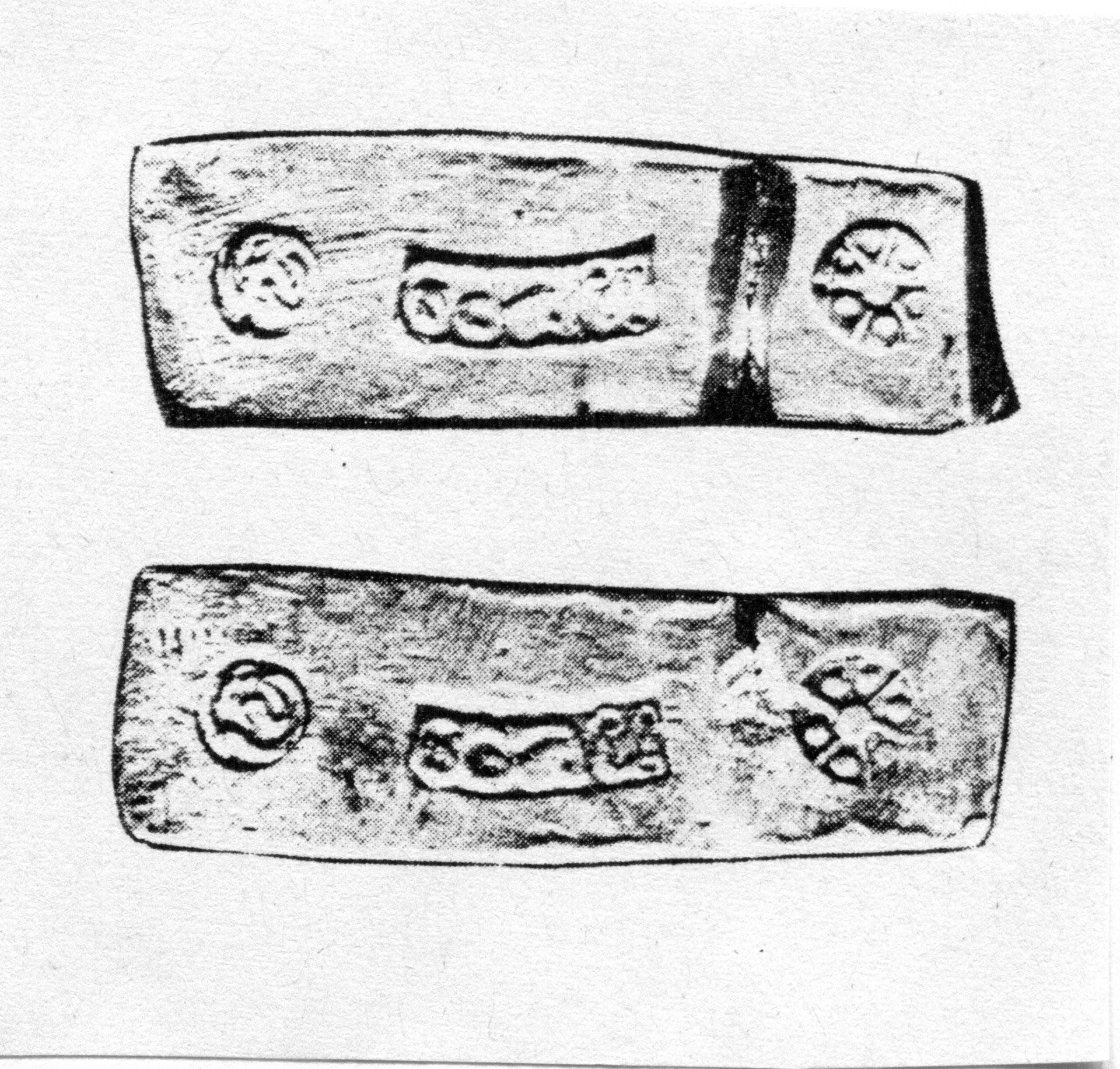PGS 41,2 (2020) Tafel 29 Abb. 5: Gehämmerter Saen Silberbarren. 3 baht, 45,9 g. (Aus Mitchiner 1979:354).