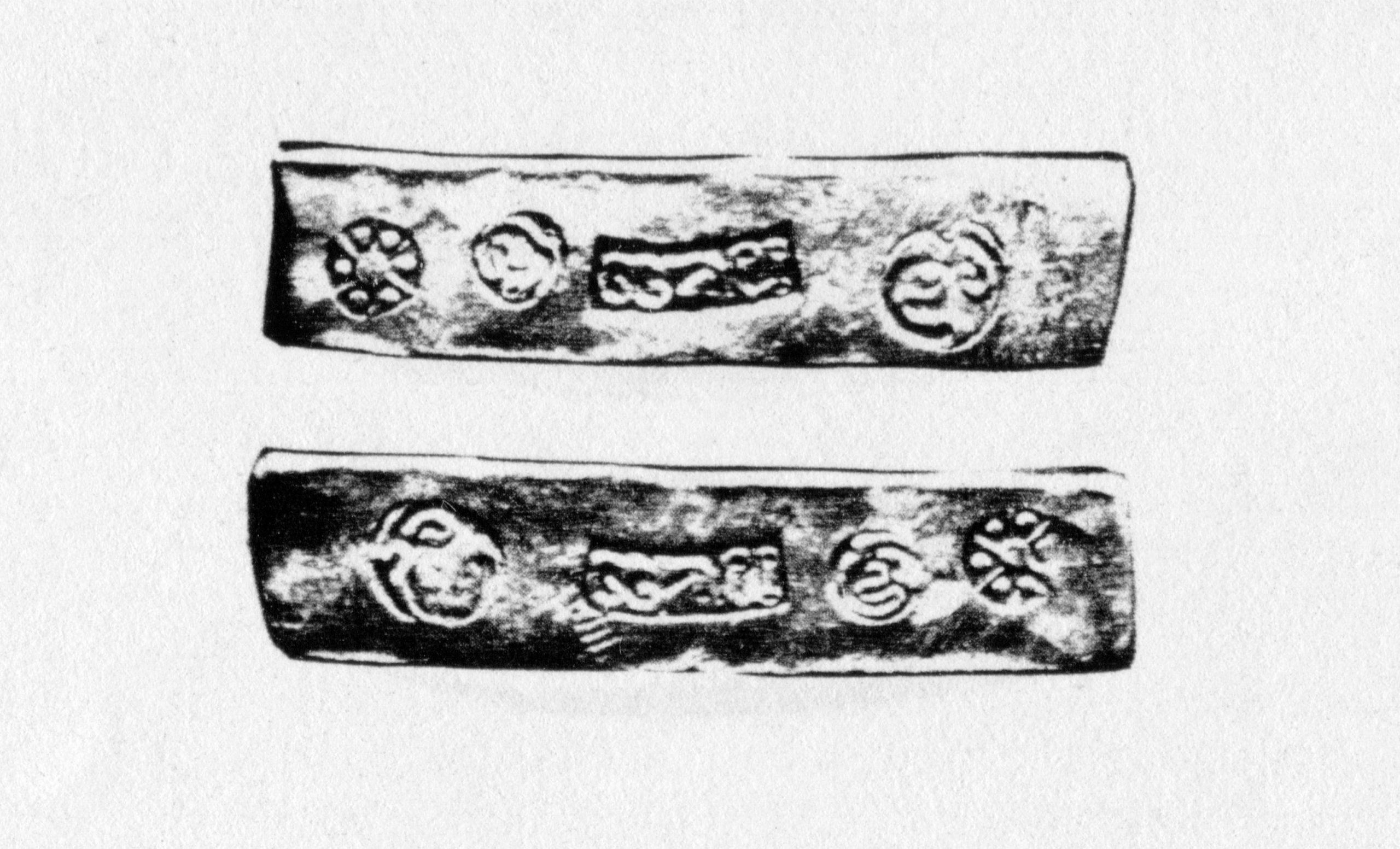PGS 41,2 (2020) Tafel 29 Abb. 6: Gehämmerter Saen Silberbarren. 4 baht, 62,2 g. (Aus Mitchiner 1979:354).